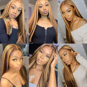 4/27 Highlight Lace Front Wigs Straight Human Hair Pre Plucked Natural Hairline