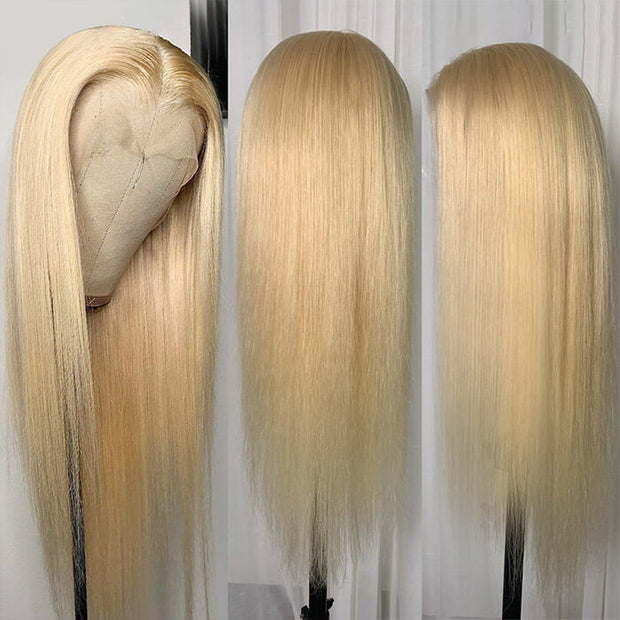 613 Honey Blonde T Part Lace Wig Straight Human Hair Transparent Lace Wig