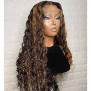 #4/30 Water Wave Highlight Lace Front Human Hair Wigs Pre Plucked