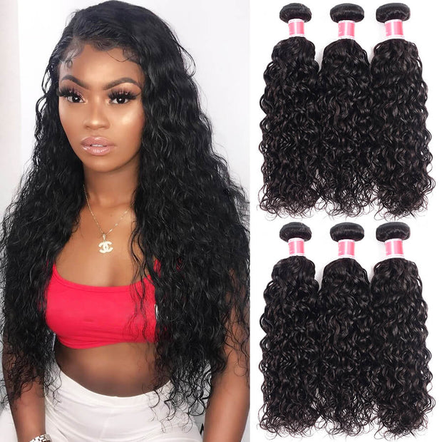 Brazilian Water Wave Virgin Hair 3 Bundles 12A Unprocessed 100% Human Hair Weave Natural Black Color