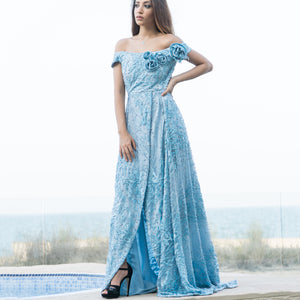 Chic Full Embroidery Light Blue Dress by Meli's (Sahar Al Aufi)