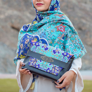 Light Blue Handmade Scarf and Bag Set by Mazayen