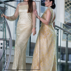 Full Embroidery Gold Dress by Meli's (Sahar Al Aufi)