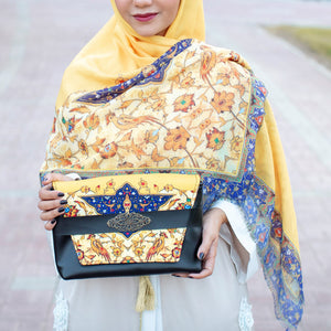 Yellow Handmade Scarf and Bag Set by Mazayen