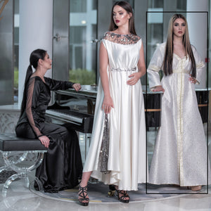 Off White With Light Gold Italian Dress by Meli's (Sahar Al Aufi)