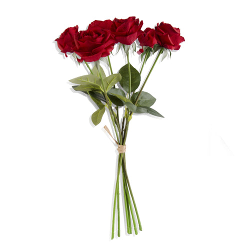 Red Real Touch Full Bloom Rose Bouquet