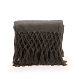 Charcoal Grey Knit Throw Blanket