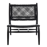 Black Bandelier Leather Weave Accent Chair