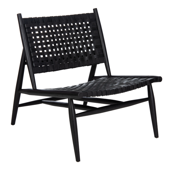 Black Soleil Leather Woven Accent Chair