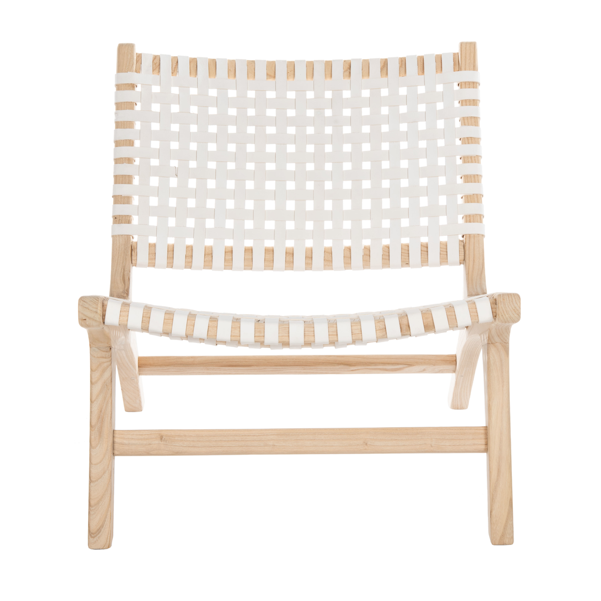 White & Natural Luna Leather Woven Accent Chair