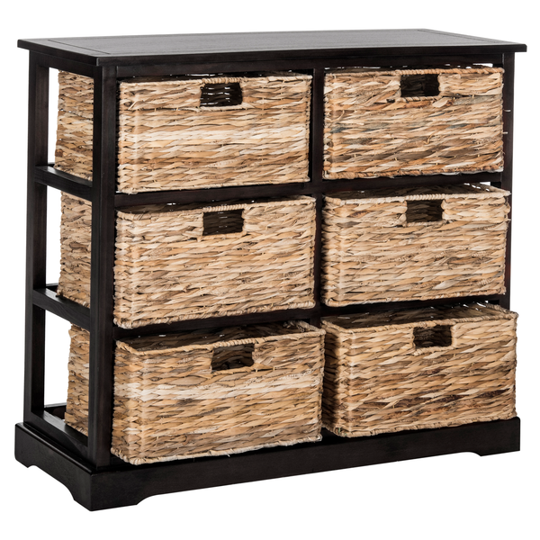 Distressed Black Keenan Storage Chest with Wicker Drawers