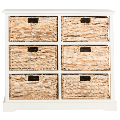 Distressed White Keenan Storage Chest with Wicker Drawers