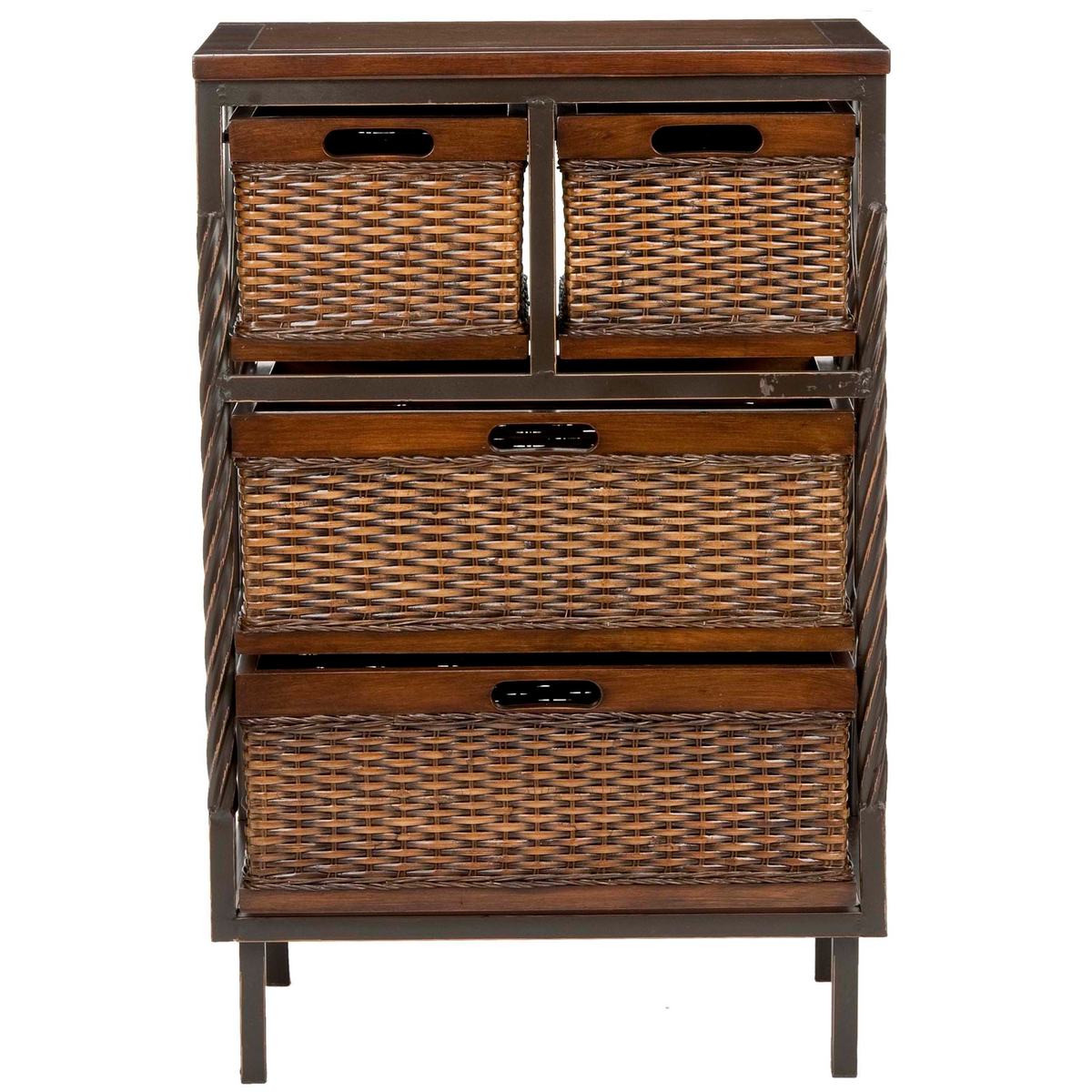 Dark Teak Andrew Storge Unit with Rattan-Style Drawers