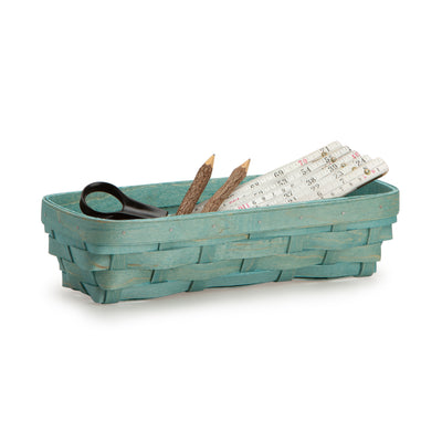 Teal Rectangle Signature Basket