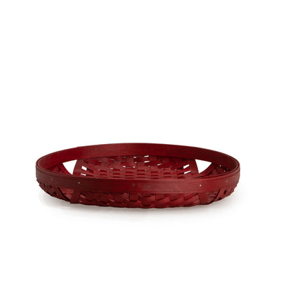Bold Red Large Round Tray Basket