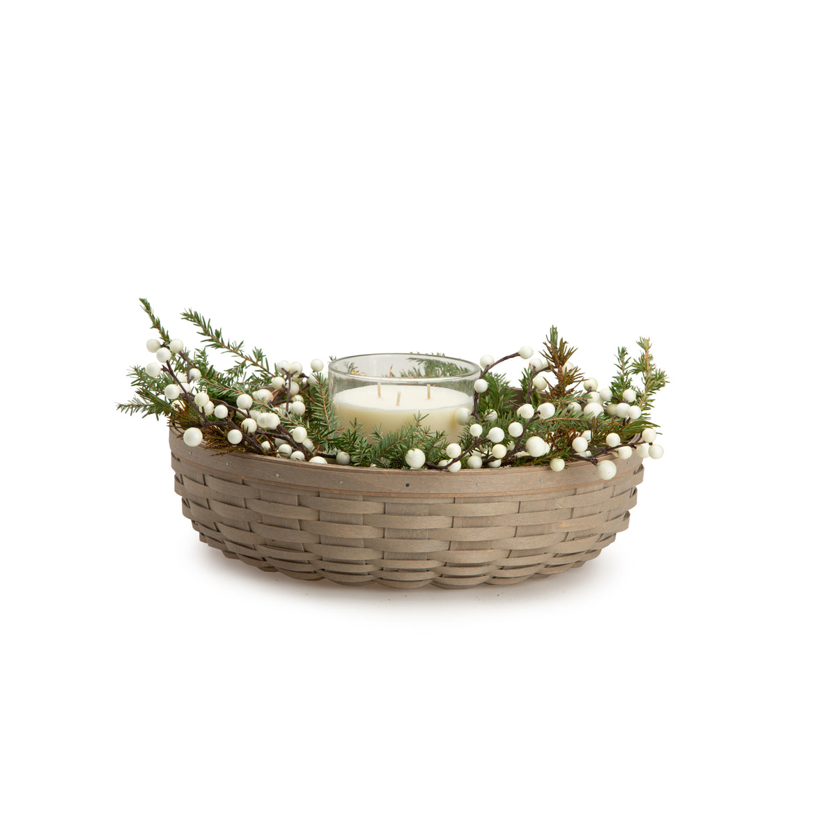 Pale Grey Wreath Basket Set