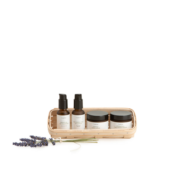 Whitewashed Small Skin Care Basket Set with Free Protector