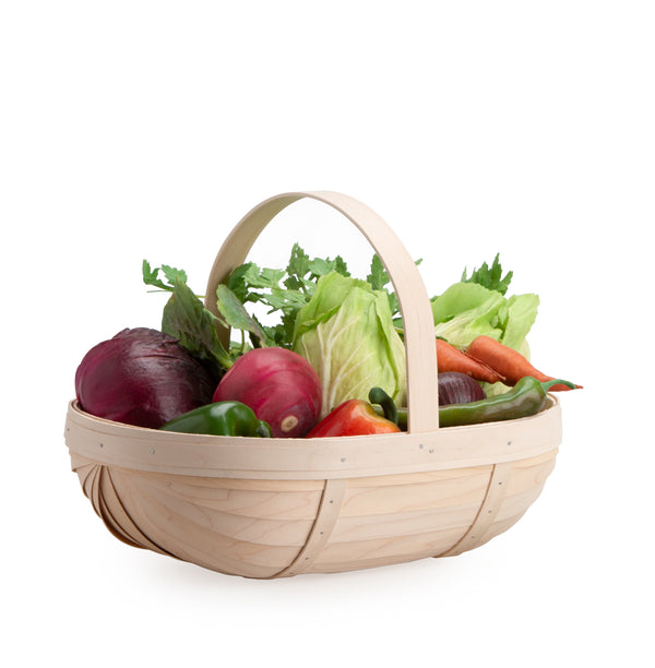 Whitewashed Large Trug Basket Set with Free Protector