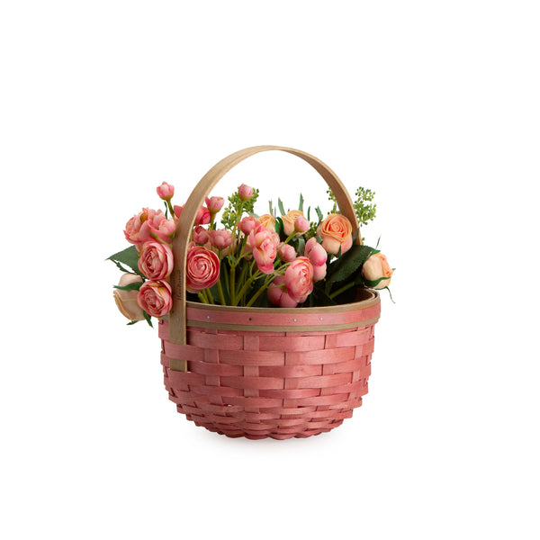 Faded Barn Red Round Mother's Day Basket Set with Free Protector