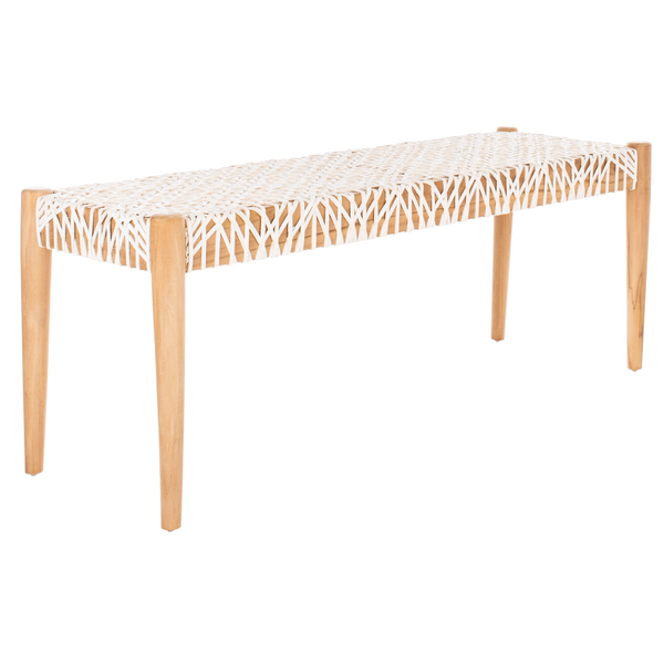 Off White & Light Oak Bandelier Bench
