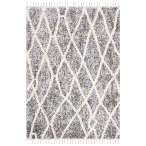 Dark Grey & Cream Berber Fringe Shag