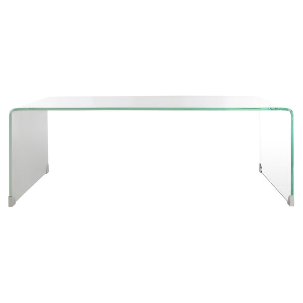 Clear & White Crysta Ombre Glass Coffee Table
