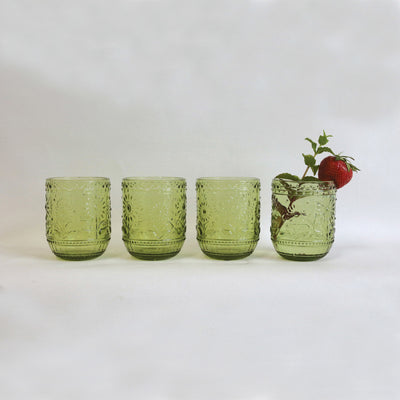 Embossed Green Drinking Glass