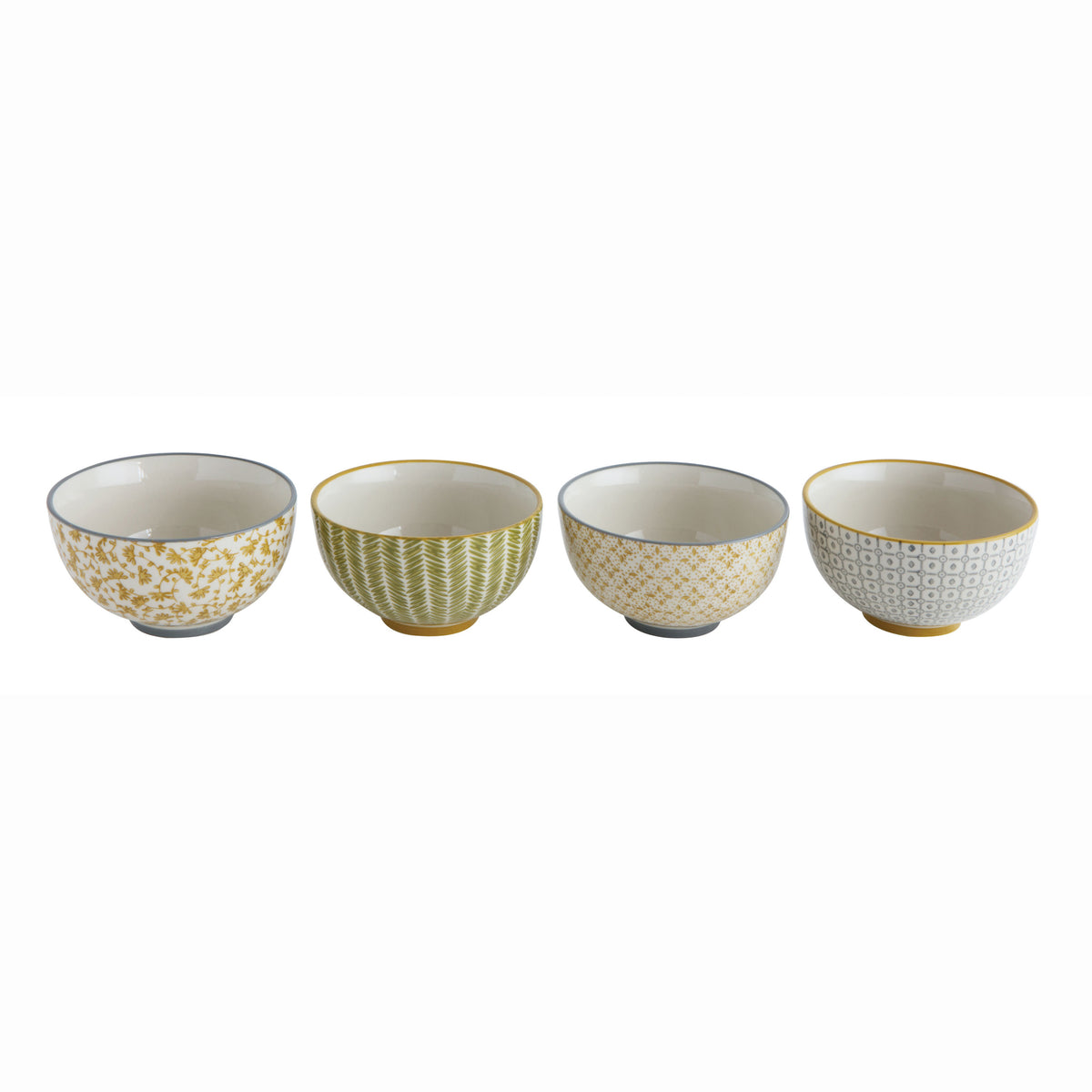 Hand-Stamped Stoneware Bowl Set