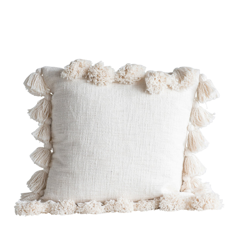 Cream Pillow with Tassels