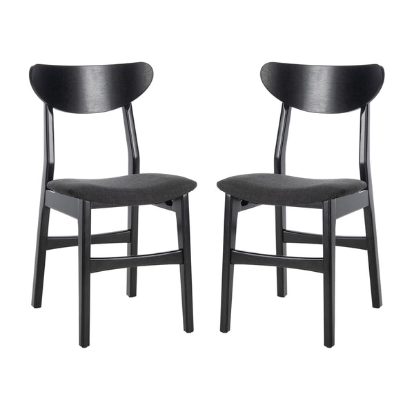 Black Lucca Retro Dining Chair with Cushion Set
