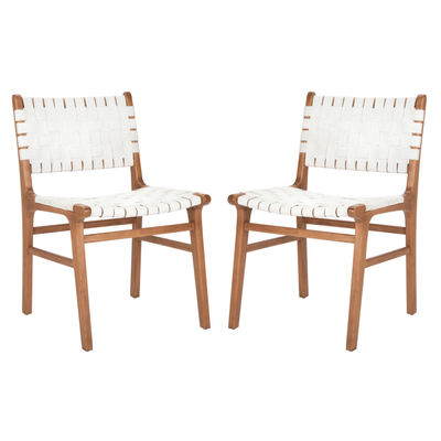 White & Natural Taika Leather Dining Chair Set