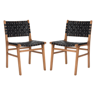 Black & Natural Taika Leather Dining Chair Set