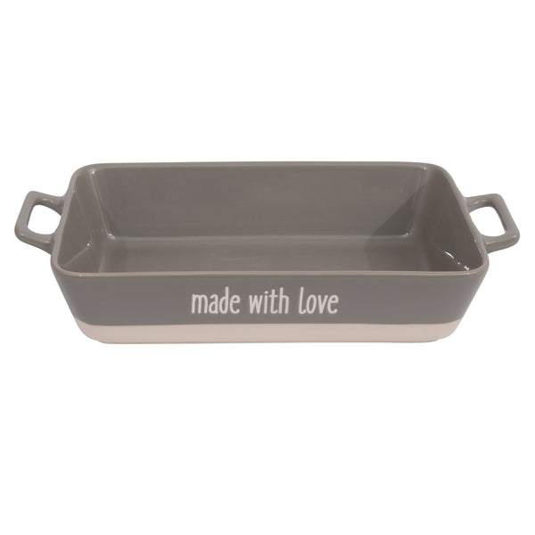 "Large Grey ""made with love"" Stoneware Baker"