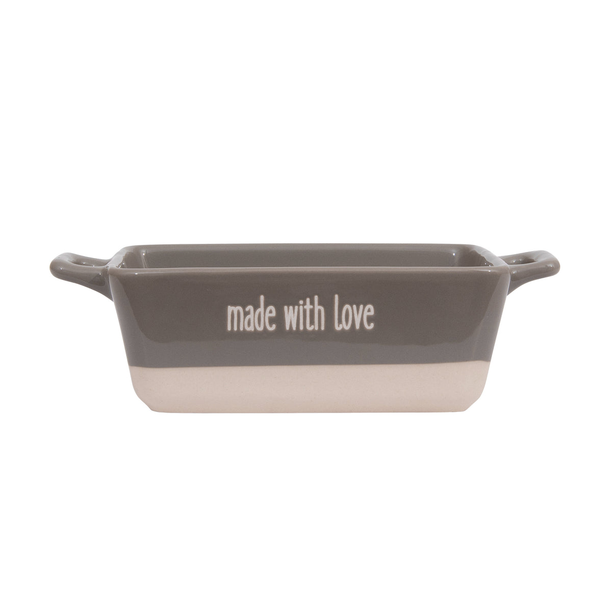 "Small Grey ""made with love"" Stoneware Baker"