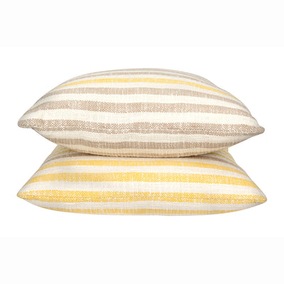 Taupe Striped Woven Pillow