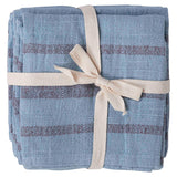 Blue with Red Variegated Stripe Woven Napkin Set