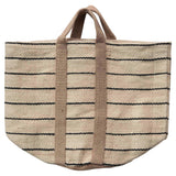 Extra Large Jute Striped Bag with Handles