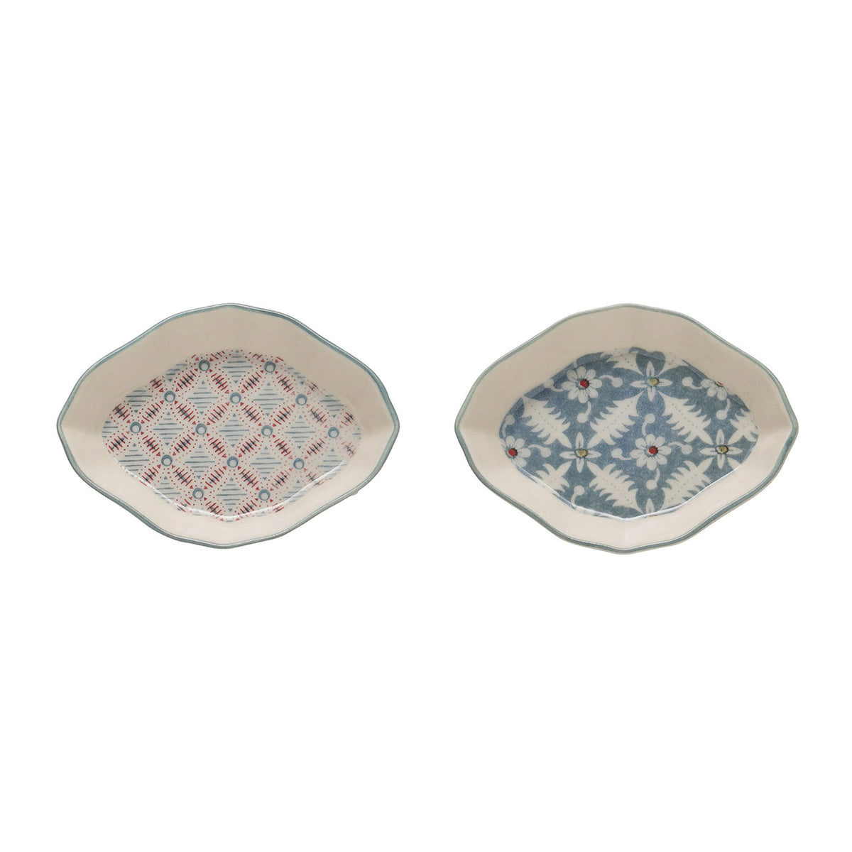 Small Red, White & Blue Stoneware Dish Set