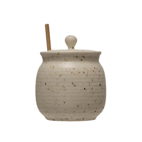 Sand Stoneware Honey Jar