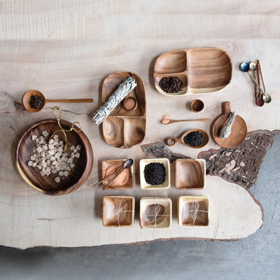 Miniature Acacia Wood Serving Bowl Set