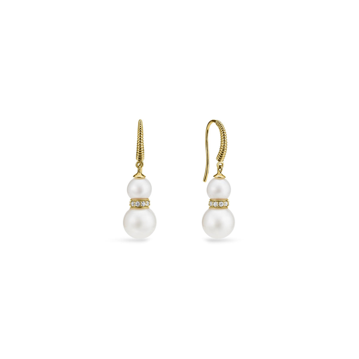 Shima Double Drop Earrings with Freshwater Pearls and Diamonds in 18K