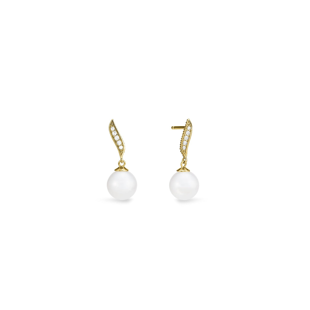 Shima Drop Earrings with Freshwater Pearls and Diamonds in 18K
