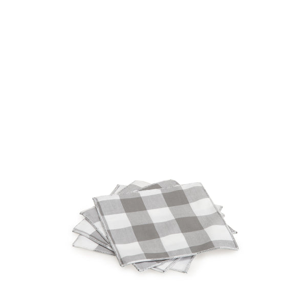Grey Gingham Cocktail Napkin Set