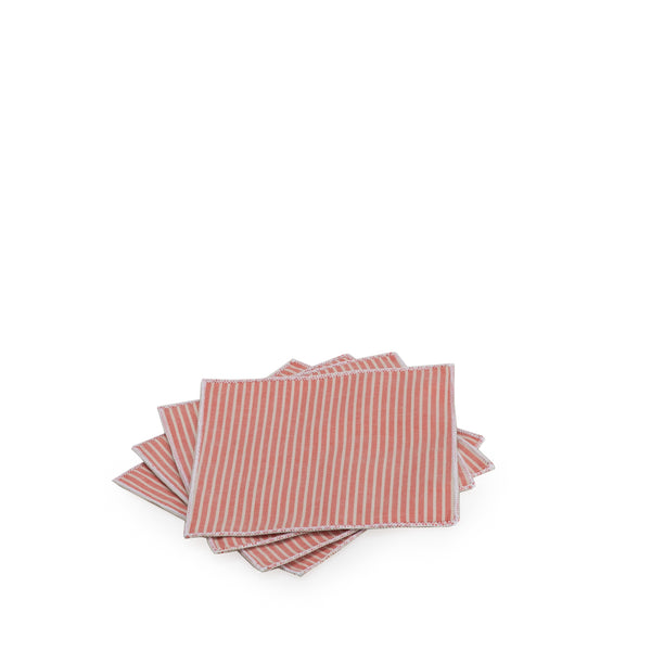 Red Striped Chambray Cocktail Napkin Set