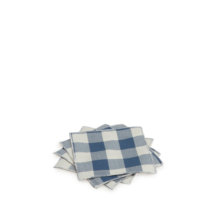 Navy Gingham Cocktail Napkin Set