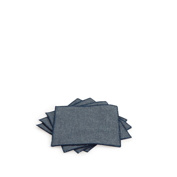 Blue Chambray Cocktail Napkin Set