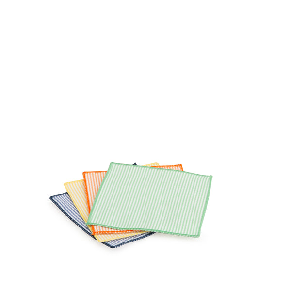 Seersucker Mixed Colors Cocktail Napkin Set