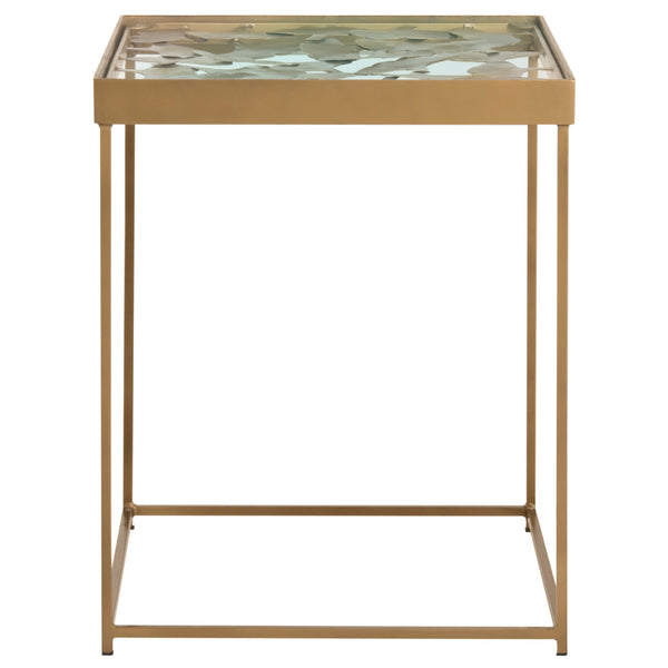 Antique Brass Lilian Leaf Side Table