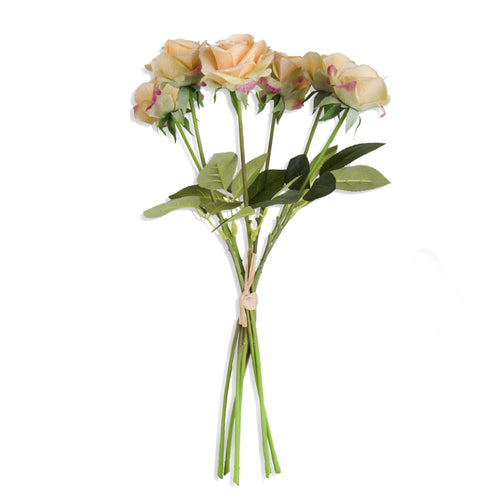 Light Green Real Touch Full Bloom Rose Bouquet