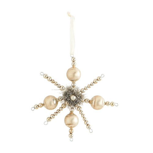 Champagne Vintage Ball Snowflake Ornament with Tinsel